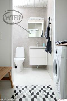 kodinhoitohuone,kylpyhuone,mikrosementti,valkoinen lattia Home Deco, Toilet Paper, Laundry Room, Bathtub, Bathroom, Tuli, Interior, Modern, House