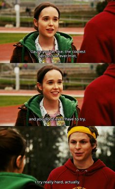 Ellen Page and Michael Cera. I think this is the movie that made me fall in love with Michael Cera.