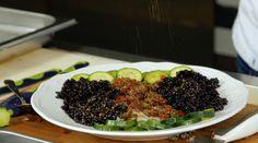 Merluzzo con riso venere pomodori secchi e capperi