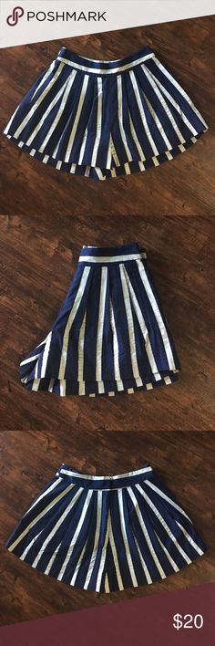 Pleated summer shorts Navy blue and light blue pleated summer shorts. Zip back with fastened closer. Plenty by Tracy Reese Shorts Skorts