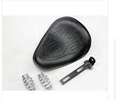 Black Leather Flame Solo Slim Seat +Mounting For Honda Shadow Spirit Sabre Aero ACE Steed VLX 400 600 1100 DLX VTX1300 1800
