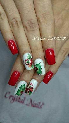 Are you looking for christmas acrylic nail colors design for winter? See our collection full of cute winter christmas acrylic nail colors design ideas and get inspired! Christmas Present Nails, Christmas Gel Nails, Holiday Nails, Colorful Nail Designs, Cute Nail Designs, Acrylic Nail Designs, Xmas Nail Art, Winter Nail Art, Winter Nails