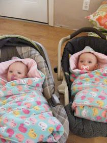I've been wanting a new way to keep my babies warm on outings. Infant snow suits are a pain, and pricey when you have twins and need two...