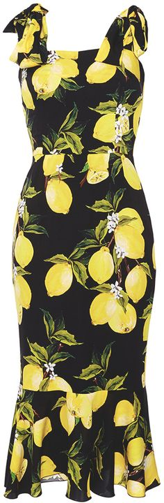 Dolce & Gabbana Silk Fitted Dress with Lemon Print