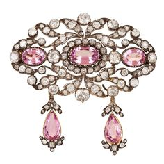 Pink topaz and diamonds brooch...