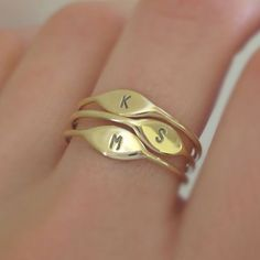 One Tiny 14k Yellow Gold Letter Stacking Ring by esdesigns on Etsy, $125.00