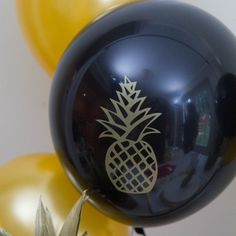 Gold Pineapple Party Balloons (set of 6)