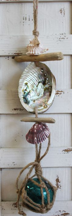 Small Teal Nautical Float Driftwood and Shell Garland - Handmade Shell Crafts - California Seashell Company