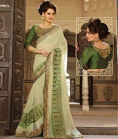 Buy Light Green Georgette Party Wear Saree 72235 with blouse online at lowest price from vast collection of sarees at Indianclothstore.com.