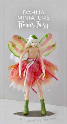 Dahlia the garden Fairy. A pretty addition to add to your miniature garden fairy collection. Dahlia wears a fabulous pink ballerina tutu with a hand dyed silk sash in shades of peony and rose and a smashing pair of pixie boots.
