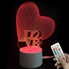 Colors Changing Heart Love LED Night Light Valentines Gifts - TRANSPARENT