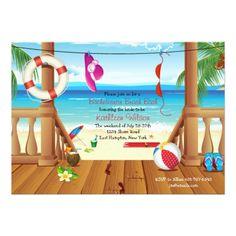 bachelorette beach party invitation Beach House Bachelorette Party Invitation