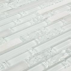 Linear Crackled Glass Tile Snow White | Mineral Tiles