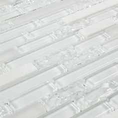 Linear Crackled Glass Tile Snow White | Mineral Tiles