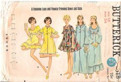 Vintage 1960's Mod Baby Doll Dress, Pajamas and Robe Sewing Pattern, Butterick 5518