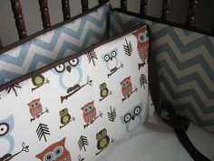 Baby Boy Crib Bedding Owls Retro Theme Custom Set. $180.00, via Etsy.