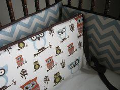 Baby Boy Crib Bedding Owls Retro Theme Custom Set. $180.00, via Etsy.