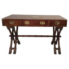 Check out this item at One Kings Lane! X-Base Mahogany Campaign-Style Desk