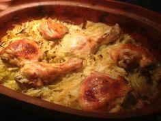 ha-van-otthon-egy-kis-kaposzta-es-csirkecomb-csodas-etel-keszulhet-belole-kaposztas-csirkecomb-romai-talban-sutve Food And Drink, Chicken, Meat, Recipes, Google, Recipies, Ripped Recipes, Recipe, Cooking Recipes