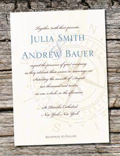 compass theme wedding invitations | antique compass wedding invitation response card 100 professionally ...