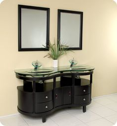 """View the Fresca FVN3331 Classico 63"""" Solid Wood Frame and Glass Double Vanity With Rectangular Mirrors, Sinks, Faucets and Installation Hardware at FaucetDirect.com."""