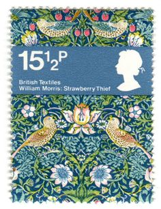 """assistantxxx: """"stampdesigns: """" Great Britain postage stamp: William Morris c. one of set of 4 stamps featuring British textiles above textile image: Strawberry Thief by William Morris c. William Morris, Postage Stamp Design, Love Stamps, Uk Stamps, Vintage Stamps, Arts And Crafts Movement, Stamp Collecting, Poster, Pin Up"""