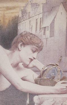 Art Jaune, Art Nouveau, Art Français, Yellow Art, Inspiration Art, Weird Creatures, French Art, Gravure, Painting Techniques