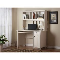 Salinas Mission Antique White Finish Hutch Desk - Overstock™ Shopping - Great Deals on Bush Desks