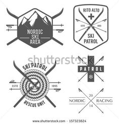 Set of nordic skiing and cross country labels and emblems - stock photo