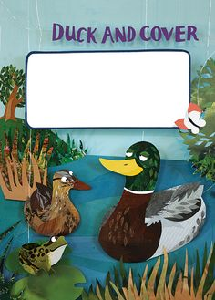"""Duck and Cover"" Title page, Wild Times magazine, RSPB. Artwork by Kate Slater"