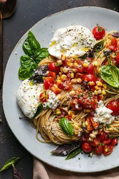This Double Tomato and Corn Bruschetta Pasta with Burrata exemplifies all of the best flavors and produce summer has to offer! Roasted cherry tomatoes, fresh cherry tomatoes, raw corn, shallots, garlic, olive oil, butter, basil, and a touch of balsamic come together beautifully to make up the summery sauce. Creamy burrata gets torn into the pasta at the end, making it perfectly creamy, just cheesy enough, and still so incredibly fresh. #bruschetta #pasta #summer #vegetarian #dinner #easy Healthy Snacks, Healthy Recipes, Healthy Dinners, Easy Recipes, Vegetarian Pasta Recipes, Summer Pasta Salad, Roasted Cherry Tomatoes, Fresh Cherry, Pasta Dishes