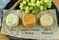 A Trio of Vegan Almond Cheese: Chive, Sun-Dried Tomato & Basil, Chili & Rosemary. Soy and Gluten Free.