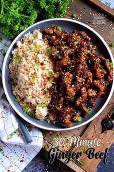 Thinly sliced beef, fried until crispy, and coated in a garlic and ginger sauce; 30 Minute Ginger Beef is an expensive dinner the whole family will love! Homemade Chinese Food, Easy Chinese Recipes, Chinese Meals, Meat Recipes, Cooking Recipes, Healthy Recipes, Weeknight Recipes, Chili Recipes, Ginger Beef