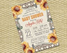 Rustic Wood Vintage Lace Sunflower - Baby Shower, Bridal Shower, Birthday Invitation - Any Event - Any Color Scheme - Kelly Style on Etsy, $18.00