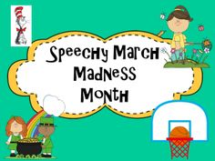 "FREEBIE therapy ideas for the month of March.  Check back for more giveaways, FREEBIES and resources during the ""Speechy March Madness Month"""