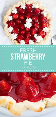 This homemade Fresh Strawberry Pie is made with a flaky crust, cheesecake filling and is bursting with fresh strawberries. One of our favorite Summer desserts! Kinds Of Desserts, Köstliche Desserts, Best Dessert Recipes, Pie Recipes, Sweet Recipes, Delicious Desserts, Fresh Strawberry Pie, Strawberry Recipes, Strawberry Sweets