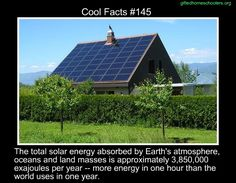 Cool facts #145  http://en.wikipedia.org/wiki/Solar_energy
