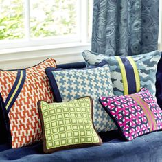 Patterned Pillows - Stepped Chevron with Zip Needlepoint Throw Pillow