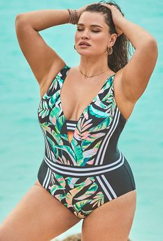 Try out the Tahiti Stripe V-Neck One Piece Swimsuit FINAL SALE and more at Swimsuits for All! From stylish tankinis to classic bikinis, we've got what you're looking for. Swimsuits For All, Plus Size Swimsuits, Women Swimsuits, Full Figure Swimwear, One Piece Swimsuit Trendy, Swimwear Sale, Black Bikini Tops, Swim Dress, Swimsuit Cover