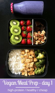 High-Protein Vegan Meal Prep for Weight Loss - Vegan Soy Sauce Tofu Brocc. - High-Protein Vegan Meal Prep for Weight Loss – Vegan Soy Sauce Tofu Broccoli Stir Fry Blue - High Protein Vegan Recipes, Vegan Breakfast Recipes, Vegan Foods, Diet Recipes, Healthy Recipes, Vegan Lunch Recipes, Vegan Menu, Protein Breakfast, Healthy Meal Prep