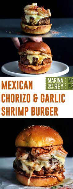 The burger that broke the internet. Introducing: Mexican Chorizo & Garlic Shrimp Burger