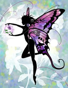 Flower Fairy by Liza Lambertini Fantasy Kunst, Fantasy Art, Elfen Fantasy, Fairy Silhouette, Fairy Tattoo Designs, Elves And Fairies, Dark Fairies, Fairy Pictures, Butterfly Fairy
