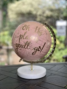 BLUSH PINK Globe on Marble Stand /Travel Theme Nursery/Wedding - Blush Pink & Gold Globe w/Black, Gold, Gray other color ink/custom wording Travel Theme Nursery, Nursery Themes, Kelly Wearstler, Metal Wall Decor, Metal Wall Art, Plywood Furniture, Pink And Gold, Blush Pink, Black Gold