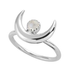 Sterling Silver Moon Spell Ring.-925 sterling silver.-Width: 15mm Crescent.-Stone: 4mm Rainbow Moonstone.-High polish, oxidised.