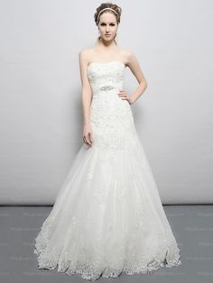 Trumpet/Mermaid Strapless Lace Satin Chapel Train White Sashes / Ribbons Wedding Dresses at Millybridal.com