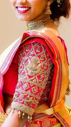 Wedding Saree Blouse Designs, Fancy Blouse Designs, Embroidery Blouses, Embroidery Designs, Work Blouse, Blue Blouse, Kurti Sleeves Design, Maggam Works, Cute Blouses