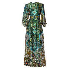 Oscar de la Renta Medallion Print Silk Maxi Dress | See more vintage Maxi Dresses at https://www.1stdibs.com/fashion/clothing/day-dresses/maxi-dresses in 1stdibs