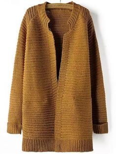 Buy Khaki Long Sleeve Striped Patterned Cardigan from abaday.com, FREE shipping Worldwide - Fashion Clothing, Latest Street Fashion At Abaday.com