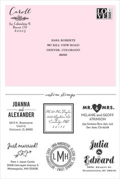 Custom Address Stamps from Paper Source - use on bridal shower invites, bridesmaid requests, save the dates, etc.