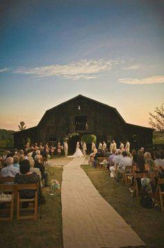 Barn Wedding ~ღ~ Love the idea of burlap as the isle runner.